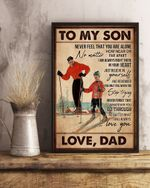 Gifts For Son From Dad To My Son Skiing Vertical Canvas Wall Art