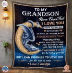 To My Grandson Never Forget That I Love You Grandpa Dragon Quilt