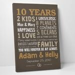 10 Years Anniversary Gift Custom Name And Day Canvas Wall Art