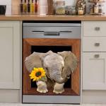 Elephant Sunflower Decor Kitchen Dishwasher Cover
