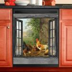 Chicken Family Window View Decor Kitchen Dishwasher Cover