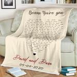 Heart-Shaped Custom Song Lyrics Valentine 's Day Gift Blanket