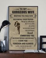 To My Gorgeous Wife Meeting You Was Fate Vintage Wedding Gift Canvas