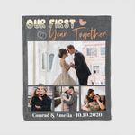 Our First Year Together Custom Photo Anniversary Valentine's Day Gift Blanket
