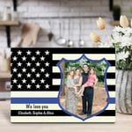 Gifts For Dad  Custom Photo Police Dad We Love You Desktop Photo Plaque