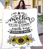 A Mother Is Like A Flower Sunflower  Gift Blanket