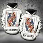 Gift For Couple Cards Queen 3D Hoodie She's Mine I'm Hers