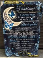 Personalized Gift For Granddaughter From Grandma Butterfly Blanket