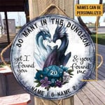 Personalized Gift For Couple Dragon DnD Game Wood Circle Sign
