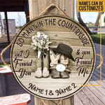 Personalized Gift For Couple Cowboy Cowgirl Wood Circle Sign So Many