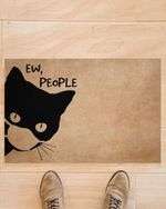Cat Wearing Mask Doormat Ew People