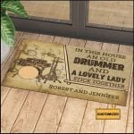 Personalized Gift For Couple Drummer Doormat In This House