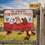 Personalized Farm Chicken Metal Sign Farm Fresh Butt Nuggets