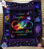Memorial Gift For Dad From Daughter Butterfly Feather Quilt I'm A Proud