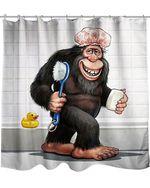 Gorilla Funny On Bathroom Shower Curtain