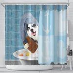 Husky On Bathroom Funny Shower Curtain
