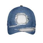 Vintage Ripped Jean White Golf Ball Pattern Cap