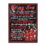Mom To Son Firefighter Ez24 0402 Fleece Blanket