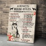 Husky Canvas Wall Art A Husky's House Rules