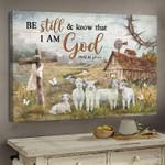 Sheep Farm Canvas Wall Art Be Still I Am God