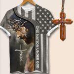 Cross Christian Jesus T-shirt One Nation Under God