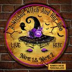 Personalized Witch Halloween Wooden Circle Sign A Wicked Witch And Her Boo Live Here