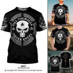 Skull T-shirt Till Valhalla Never Kneel