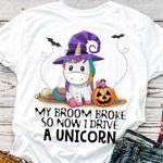Baby Unicorn Halloween Tshirt My Broom Broke