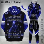 Personalized Wolf January 3D Hoodie And Long Pants I Am A January Guy
