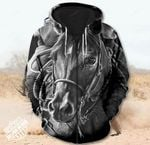 Black Horse 3D Zip Hoodie