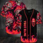 Personalized Skull Fire Baseball Jersey