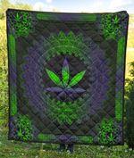 Weed Green Purple Pattern Blanket
