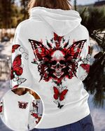 Skull Red Butterfly 3D Hoodie