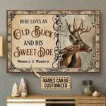 Personalized Gift For Couple Buck And Doe Canvas Wall Art Here Lives