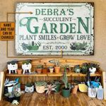 Personalized Gardening Metal Sign Succulent Garden Plant Smiles
