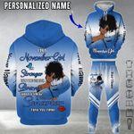 Personalized Black Girl 3D Hoodie & Long Pants I'm A November Girl