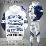 Lion 3D Hoodie & Long Pants January Girl Make No Mistake My Personality