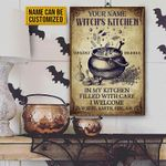 Personalized Witch Kitchen Metal Sign In My Kitchen Filled With Care I Welcome