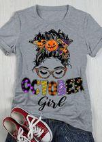 Girl Pumpkin T-shrit October Girl