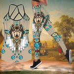 Wolf Native American Criss Tank Top And Leggings