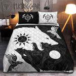 Viking Fenrir Wolf Raven Black White Quilt Set