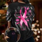 Breast Cancer Jesus Cross 3D T-shirt Black Sunflower