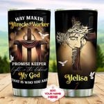 Personalized Jesus Christian Cross Dove Tumbler Way Maker Miracle Worker