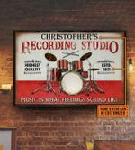Personalized Drummer Recording Studio Canvas Wall Art Music Is What Feelings Sound Like