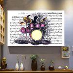 Drummer Music Sheet Canvas Wall Art