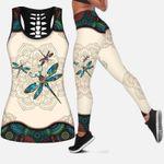 Pattern Floral Dragonfly Tank Top & Leggings