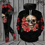 Skull Face With Roses 3D Hoodie & Leggings