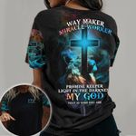 Lion Jesus Cross 3D T-shirt Way Maker Miracle Worker PAN3TS0027