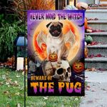 Pug Skull Halloween Garden Flag Never Mind The Witch Beware Of The Pug
