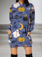 Ghost Pumpkin Halloween Witch Hoodie Dress PANHDR0001